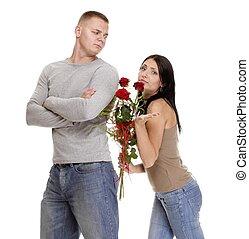 verhältnis- schwierigkeiten, junges, in, konflikt, freigestellt