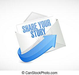 verhaal, aandeel, illustratie, ontwerp, post, jouw