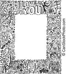 verhaal, communie, liefde, frame, schets, vector, achtergrond