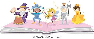 verhaal, geitjes, stickman, boek, karakters