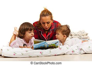 verhaal, lezende , moeder, geitjes