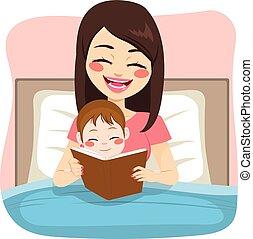 verhaal, lezende , moeder