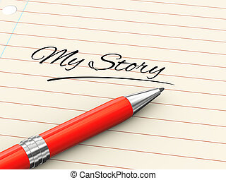 verhaal, -, pen, papier, mijn, 3d