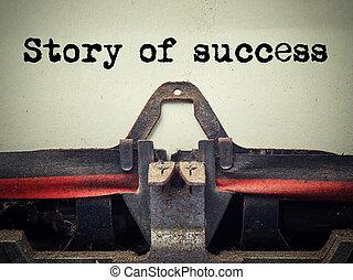 verhaal, succes, ouderwetse , typemachine, dichtbegroeid boven