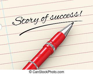 verhaal, succes, -, pen, papier, 3d