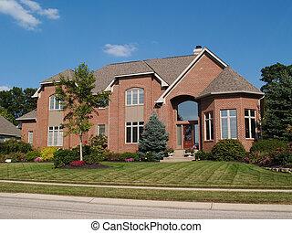 verhaal, twee, groot, nieuw huis, baksteen