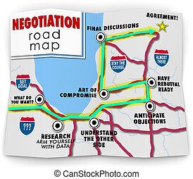 verhandlung, landkarte, ziel, abkommen, nutzen, gemeinsam, richtungen, straße