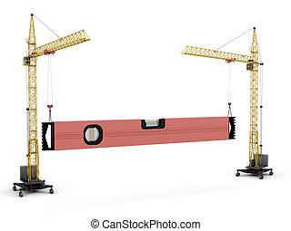 verheffen, kranen, beeld, -, twee, constructio, bouwsector, conceptueel