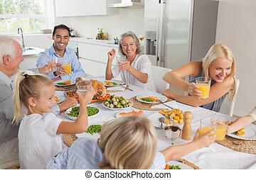 verheffing, hun, bril, samen, gezin, vrolijke