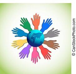 verheffing, kleurrijke, handen