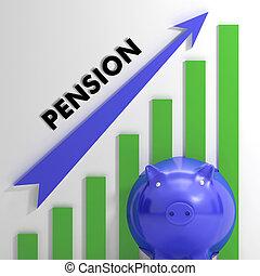 verheffing, pensioen, tabel, het tonen, monetair, groei
