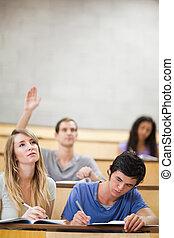 verheffing, scholieren, hand, zijn, verticaal, opmerkingen, ...