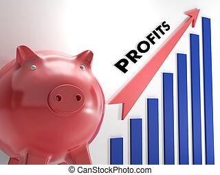 verheffing, winsten, tabel, het tonen, incomes, groei