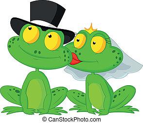 verheiratet, karikatur, frosch, küssende
