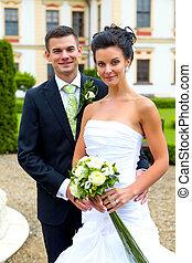 verheiratet, tag, paar, gerecht, glücklich, -, wedding