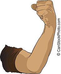 verheven, gebaar, fist