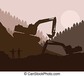 verheven, graafwerktuig, emmer, bouwterrein, lader, vector,...