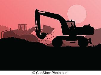verheven, graafwerktuig, emmer, bouwterrein, lader, vector, bouwsector