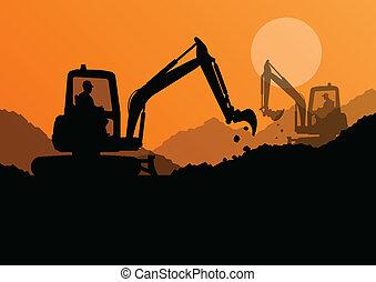 verheven, graven, graafwerktuig, werkmannen , emmer,...