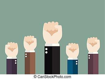 verheven, handel hands, lucht, fist, team