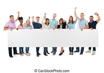 verheven, handel team, armen, creatief, vasthouden, leeg, buitenreclame