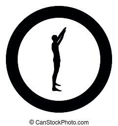 verheven, kleur, armen, sportsman, bovenkant, black , illustratie, man, handen, cirkel, aanzicht, ronde, verheffing, pictogram