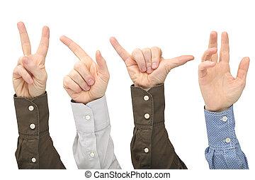 verheven, mannen, anders, achtergrond, handen, witte