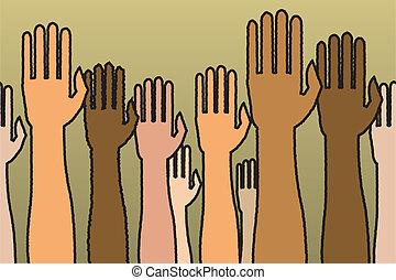 verheven, seamless, handen