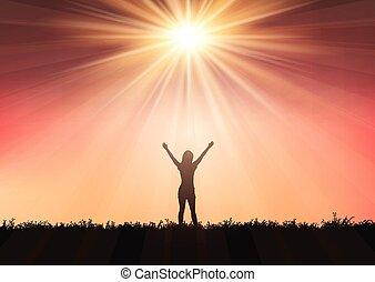 verheven, silhouette, 0409, hemel, armen, tegen, ondergaande zon , vrouwlijk