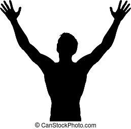 verheven, silhouette, armen, man