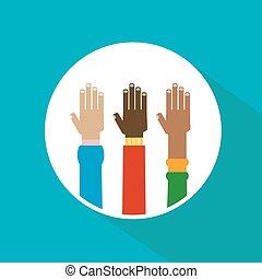 verheven, verscheidenheid, handen