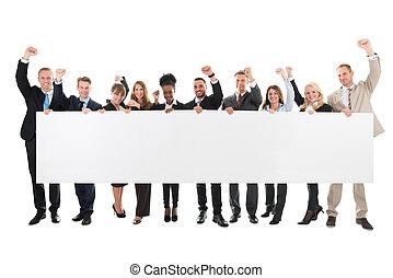 verheven, zakelijk, leeg, armen, vasthouden, team, buitenreclame, vrolijke