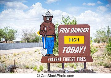 verhindern, gefahr, feuer, fires., hoch, wald, today.