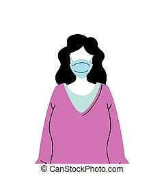 verhindern, tragen, junge frau, maske, virus, gesicht