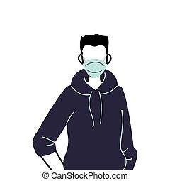 verhindern, tragen, junger, maskenmann, virus, gesicht