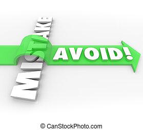 verhindern, wort, vermeiden, pfeil, fehler, problem, aus, ...