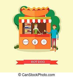 verhite hond staan, concept, vector, poster., stad straat, voedingsmiddelen, zakelijk