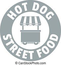 verhite hond staan, logo, eenvoudig, grijs, stijl