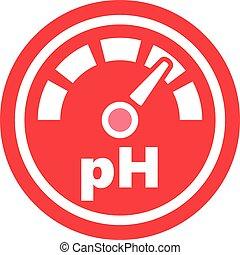 verhogen, ph, ronde, rood, pictogram