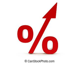 verhogen, procent, rood, 3d