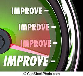verhogen, woord, resultaten, beter, meer, snelheidsmeter,...
