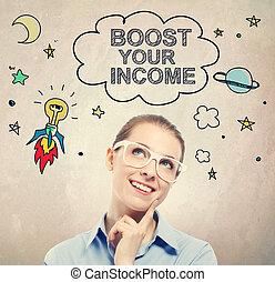 verhoging, jouw, inkomen, idee, schets, met, jonge, zakenmens