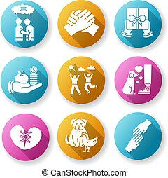 verhouding, interspecies, glyph, vrienden, bond., vriendschap, plat, ontwerp, set., lang, silhouette, verbinding, vriendelijk, rgb, schaduw, illustratie, iconen, affection., emotioneel, kleur, best, interpersonal, steun