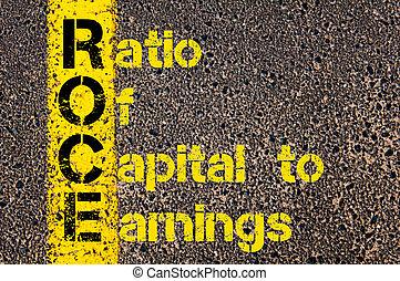 verhouding, zakelijk, acroniem, boekhouding, inkomsten, hoofdstad, roce