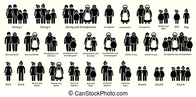 verhoudingen, groot, set., gezin, familie, pictogram