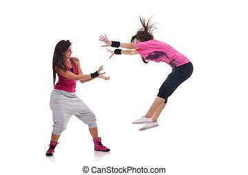 verhuizen, breakdance, dansers, vrouwlijk, modieus, vervaardiging