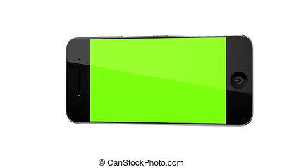 verhuizing, smart, telefoon, landscape, concept, met, tracking, punten, en, aplha