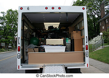 verhuizing, volle, vrachtwagen