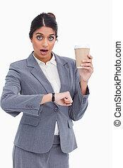 verificado, femininas, apenas, copo, chocado, empresário, papel, contra, fundo, tempo, branca