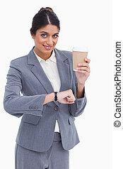 verificado, femininas, apenas, copo, contra, empresário, papel, fundo, tempo, branca, sorrindo